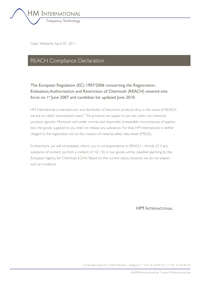 REACH Compliance Declaration